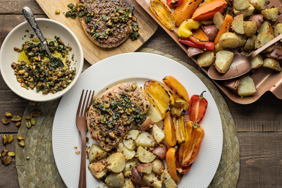 Herbed Pork Chops with Pistachio-Mint Salmuera