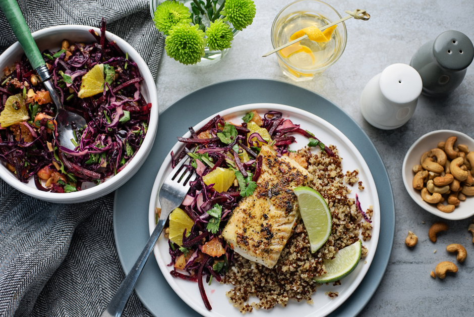 Seared Cod with Sunshine Slaw