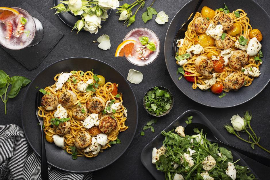 Seared Scallops over Spaghetti alla Chitarra