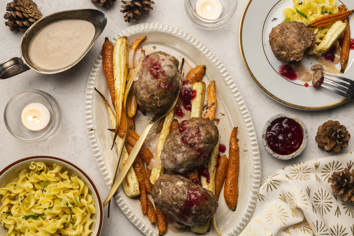 Swedish Mini Meatloaves with Herbed Egg Noodles