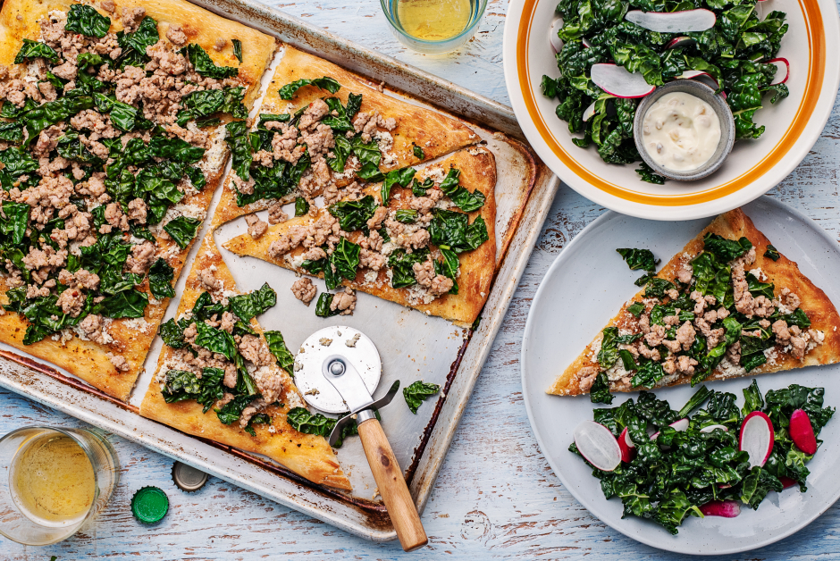 Pork, Roasted Garlic-Sour Cream & Lacinato Kale Flatbread