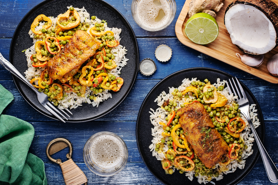 Seared Cod over Caribbean-Style Curry