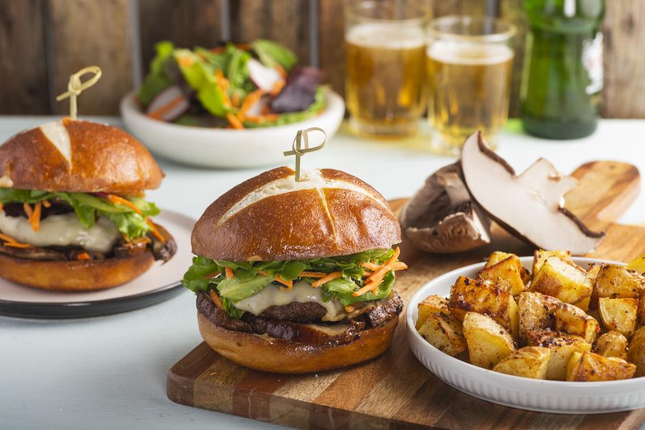 Swiss Cheese & Portobello Beef Burgers