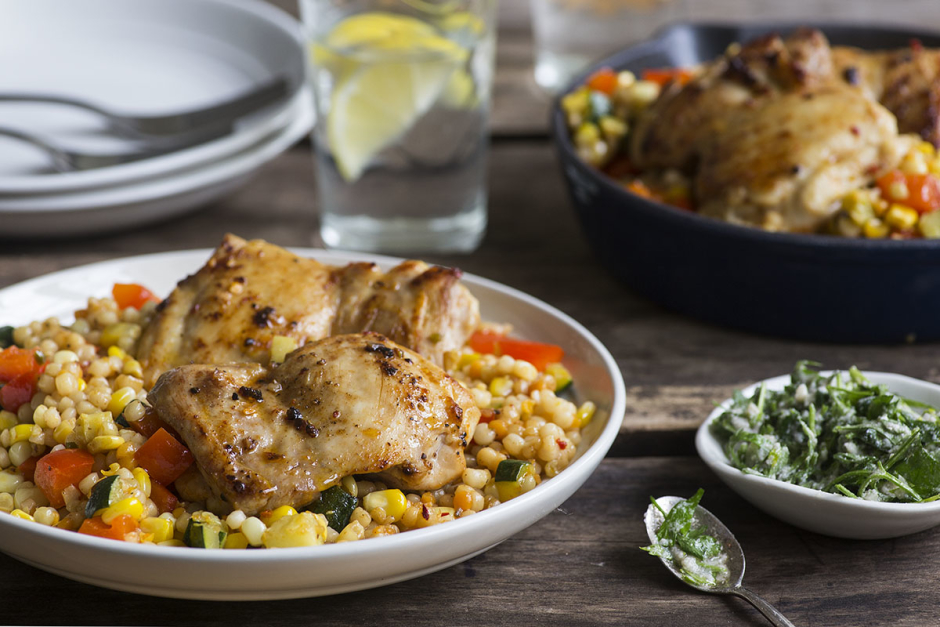 Seared Chicken Thighs with Warm Pearl Couscous Salad