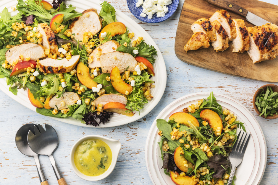 Grilled Chicken Salad with Corn, Peaches & Goat Cheese Crumble