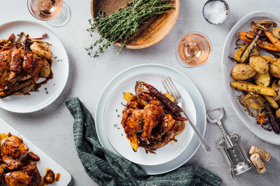 Maple Butter-BBQ Glazed Chicken Thighs