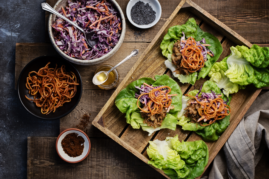 BBQ Pulled Pork Lettuce Cups with Spiralized Sweet Potatoes