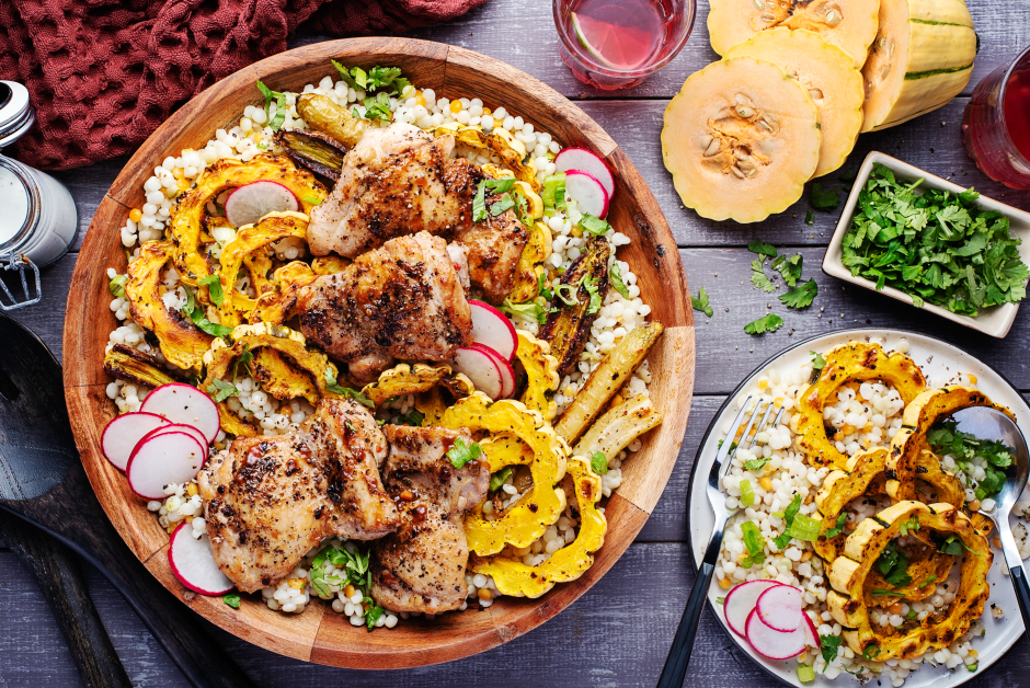 Spiced Chicken with Delicata Squash Rings