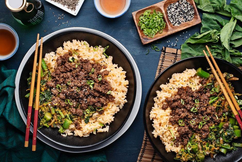 Black Pepper Beef over Spiced Rice