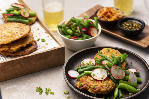 Kimchi-Scallion Pancakes with Soy Dipping Sauce