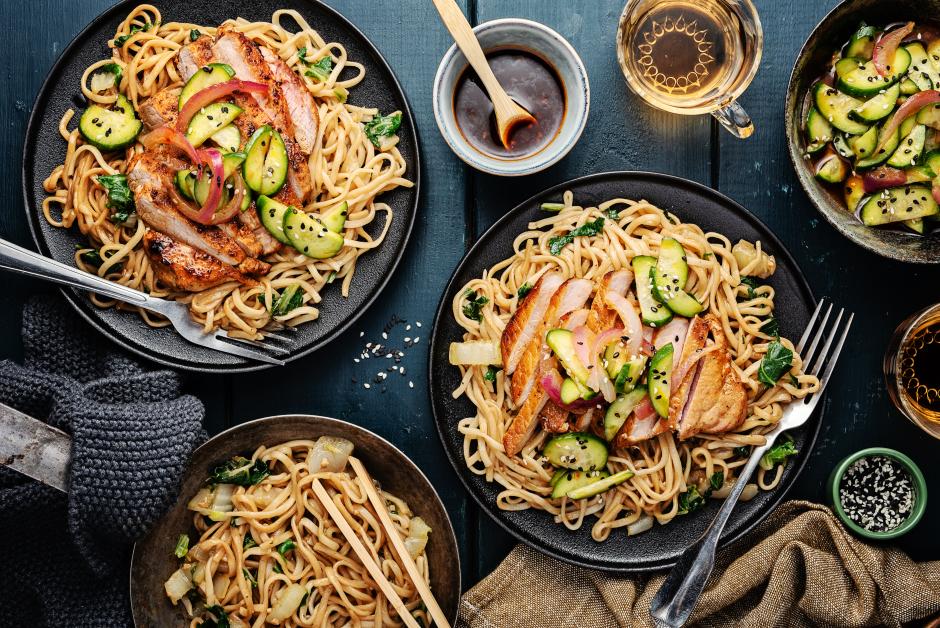 Sticky Hoisin-Soy Pork Chops over Chow Mein Noodles