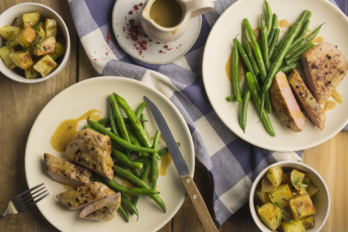 Lemon & Pink Peppercorn Pork Chops
