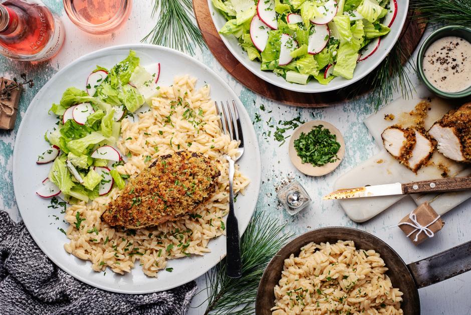 Crispy Chicken with Caesar Salad