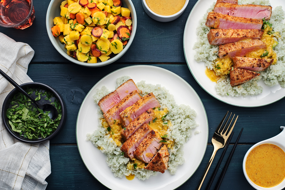 Seared Tuna with Thai Curry Sauce