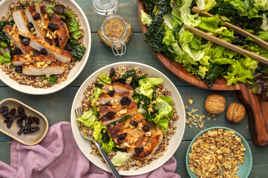 Grilled Pork Chops & Lacinato Kale Salad