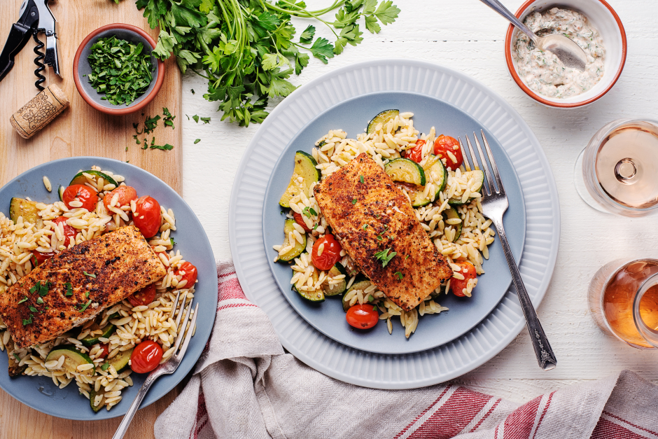 Greek-Style Salmon over Orzo