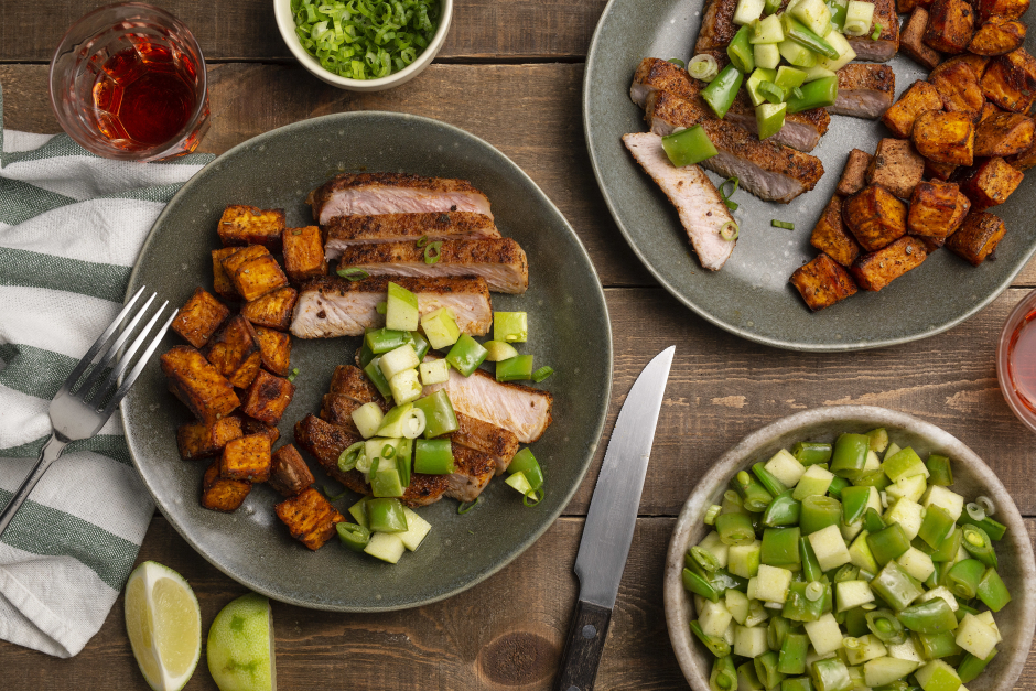 Cider Pork Chops with Apple & Sugar Snap Pea Salsa