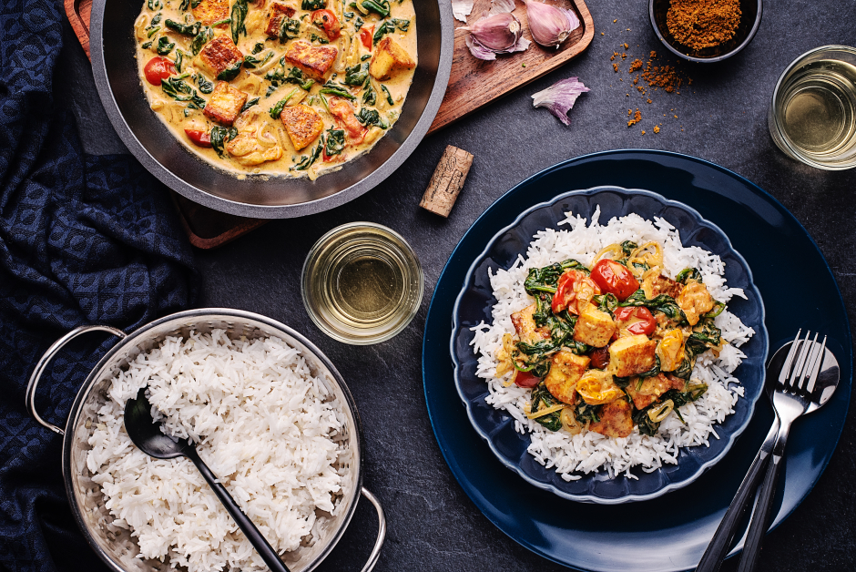Saag Halloumi with Spinach & Tomatoes