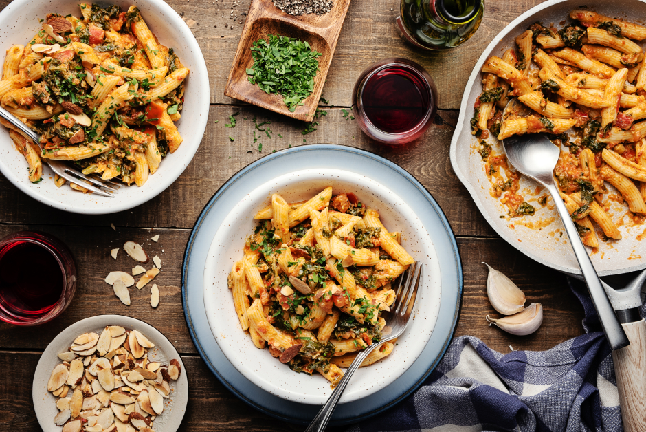Fresh Penne Pasta in Romesco Sauce