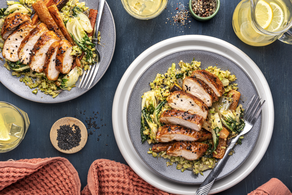 Citrus-Ginger Chicken Stir-Fry over Broccoli 'Rice'