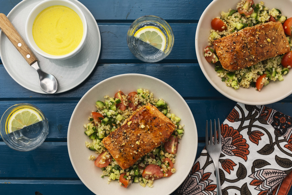 Dukkah-Rubbed Salmon with Turmeric-Tahini Sauce