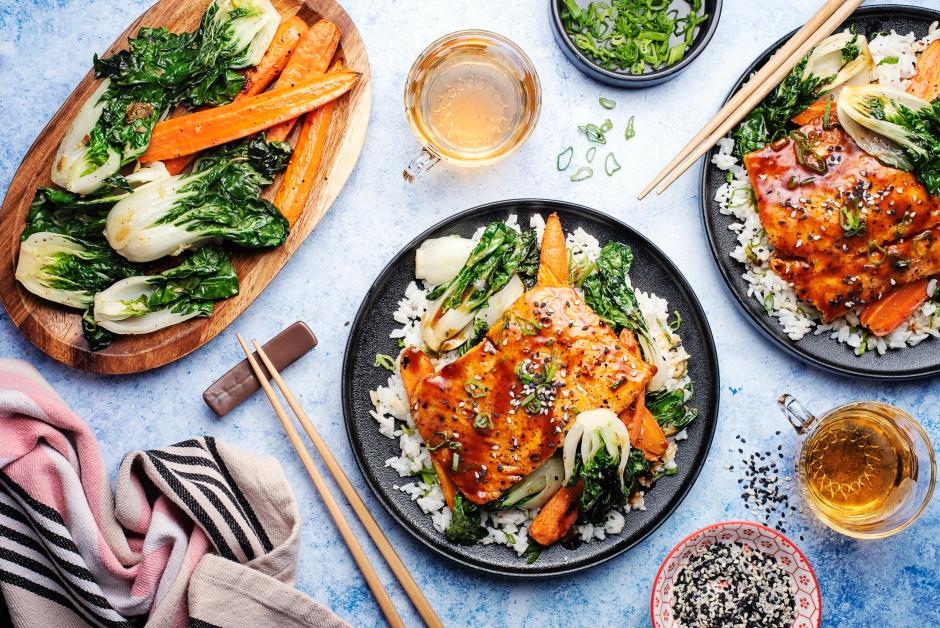 Teriyaki Salmon Bowls over Sushi-Style Rice