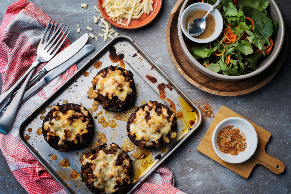 Beef & Monterey Jack-Stuffed Portobello Mushrooms