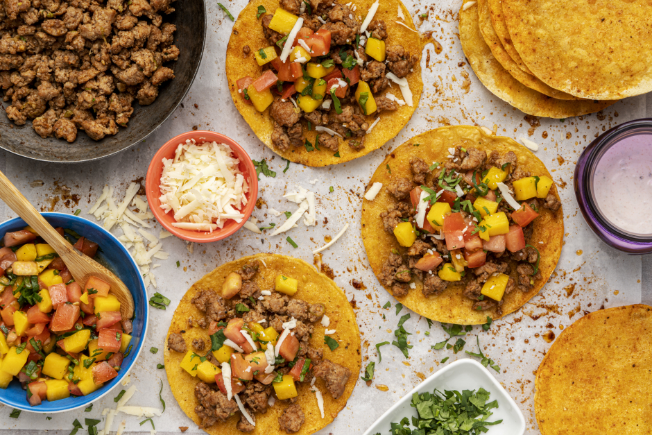 Spiced Ground Pork Tostadas with Tomato-Mango Salsa