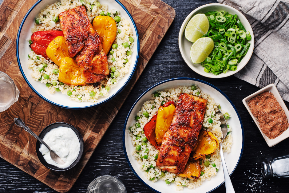 Paprika-Honey Salmon with Lime Sour Cream