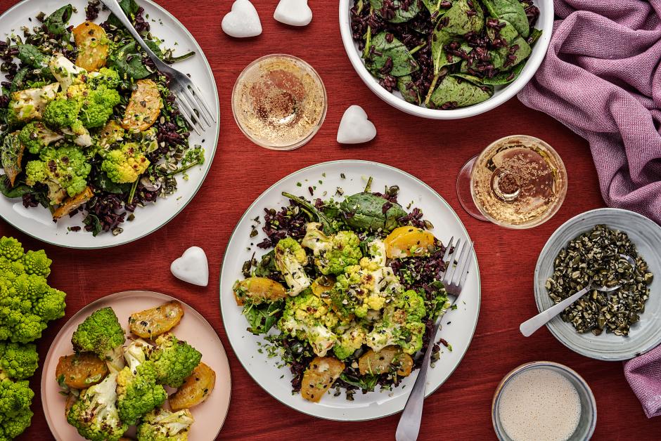 Roasted Romanesco & Beets over Midnight Rice