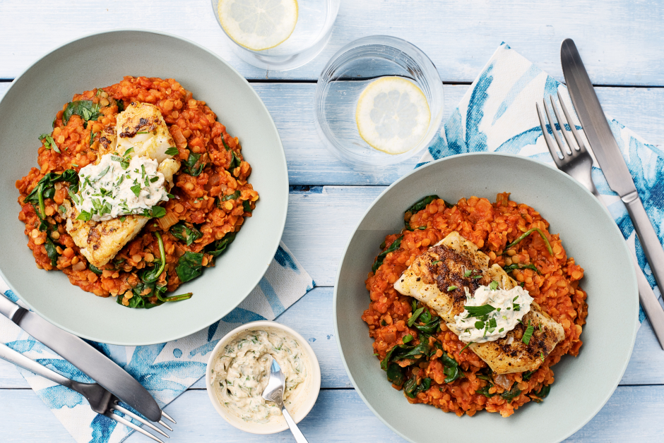 Madras Cod over Stewed Lentils