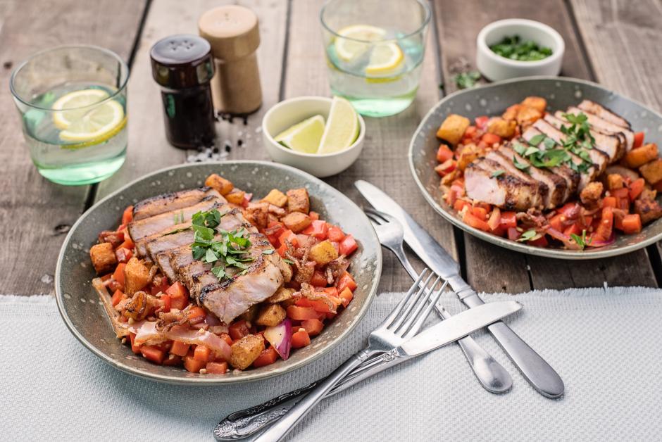 Caribbean Spiced Pork Chops with Bacon