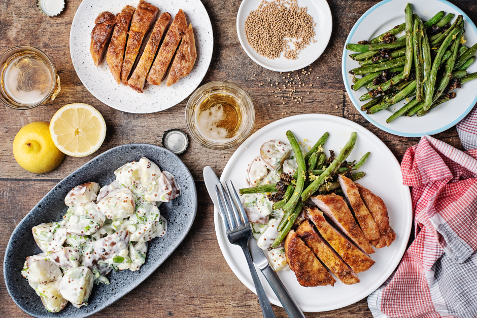 Southern Fried Pork Chops with Buttermilk Potato Salad
