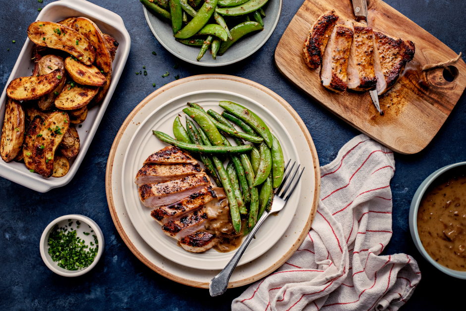 Seared Pork Chops with Caramelized Onion Gravy