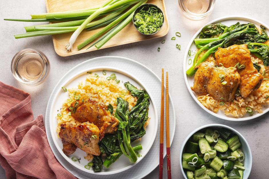 Miso-Maple Caramel Chicken over Garlic Rice