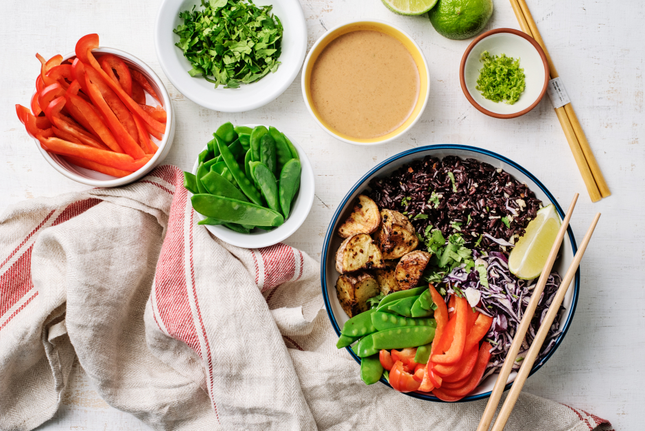 Indonesian Gado-Gado Bowl with Purple Rice