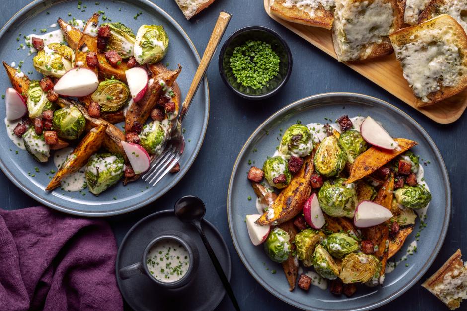 Salade César aux légumes racines rôtis