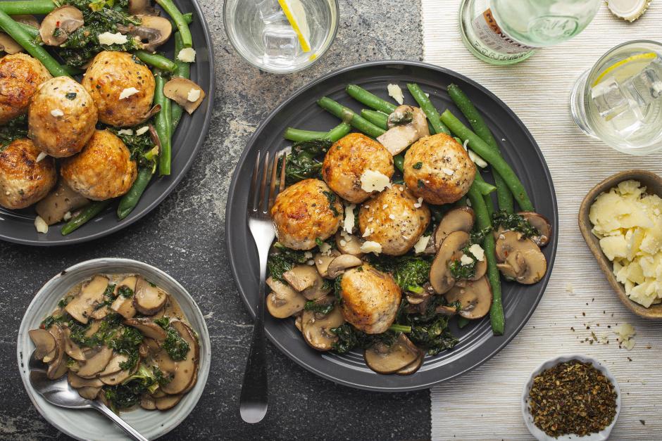 Turkey Meatballs in Creamy Mushroom-Kale Sauce