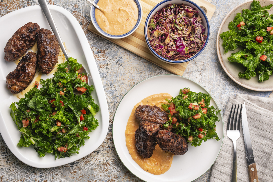 Beef Kefta Kebabs with Red Pepper Hummus