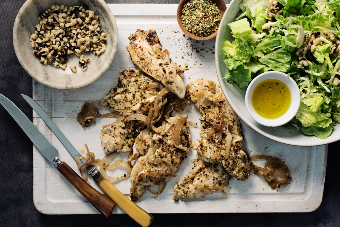 Chicken Tenders with Shaved Brussels Sprouts