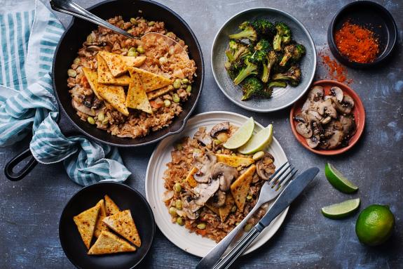 Seared Tofu over Kimchi Rice