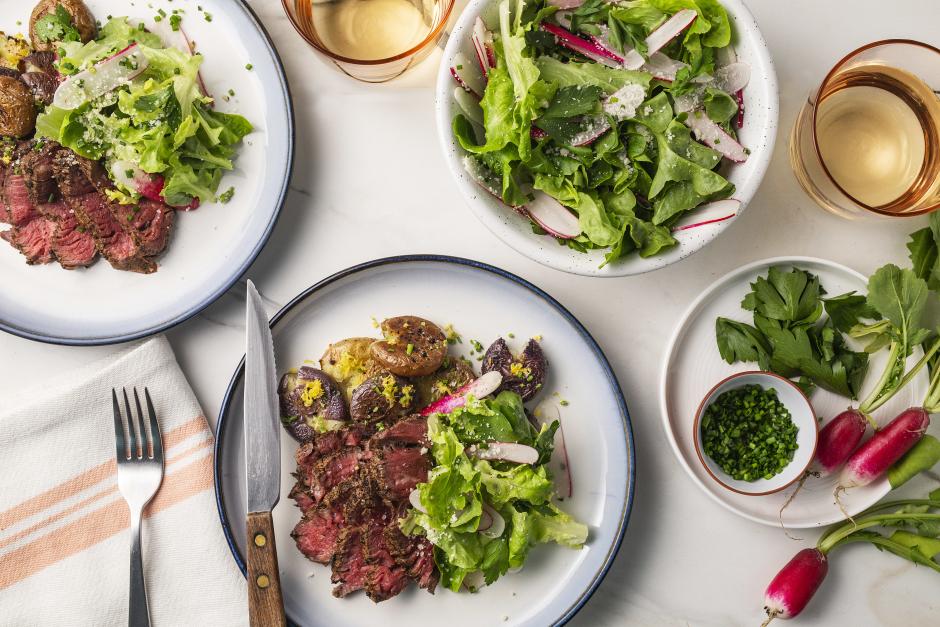 Seared Filets Mignon with Herb-Radish Salad