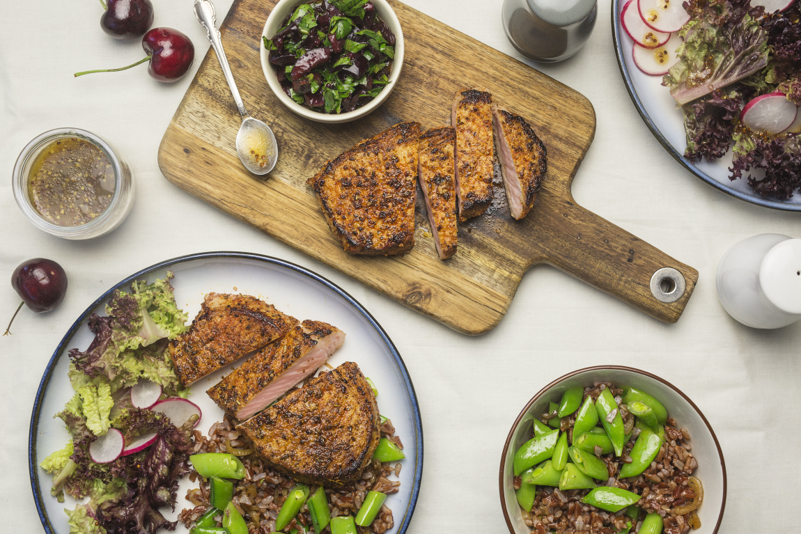Seared Pork Chops with Lolla Rossa Salad