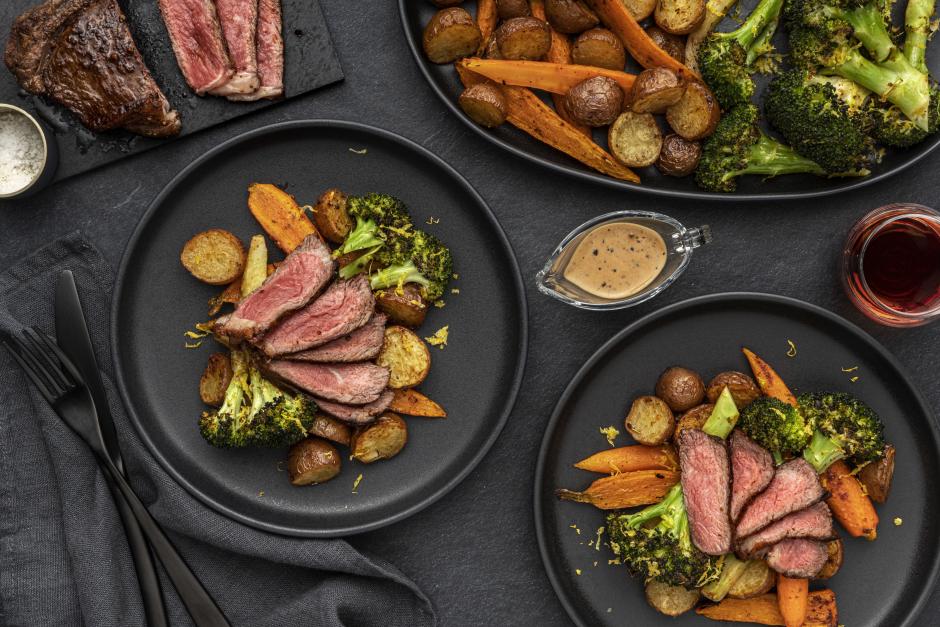 Strip Loin Steak with Green Peppercorn Sauce