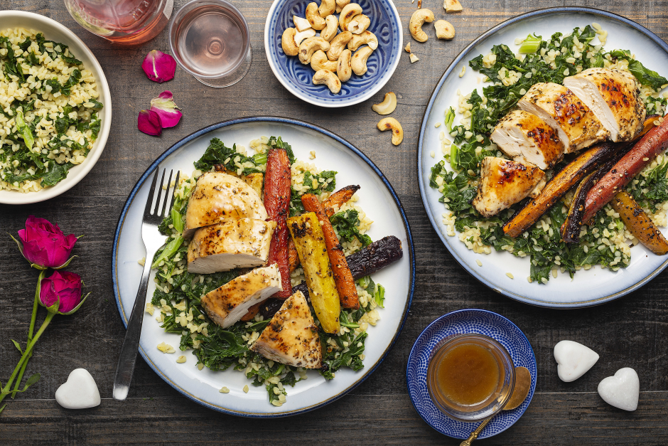 Oven-Roasted Chicken with Bulgur & Kale