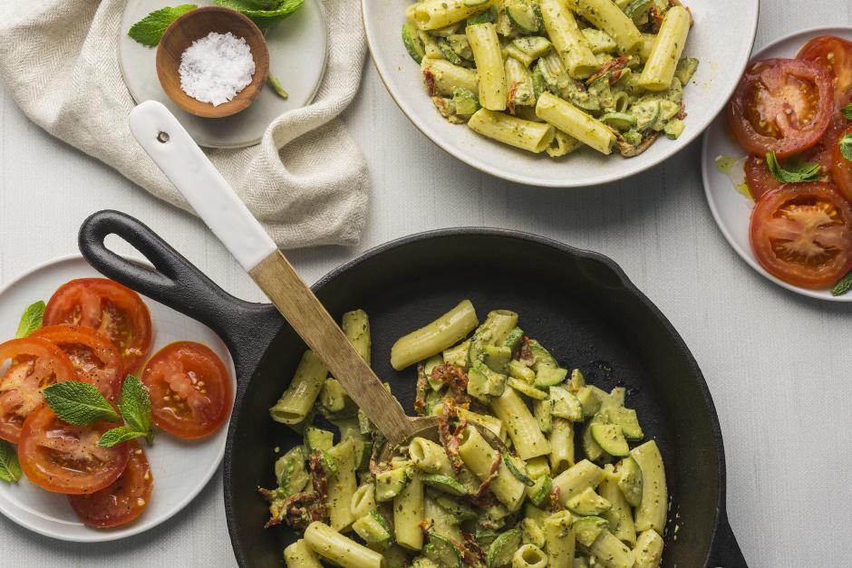 Fresh Rigatoni in Creamy Pesto with Sundried Tomatoes & Heirloom Zucchini