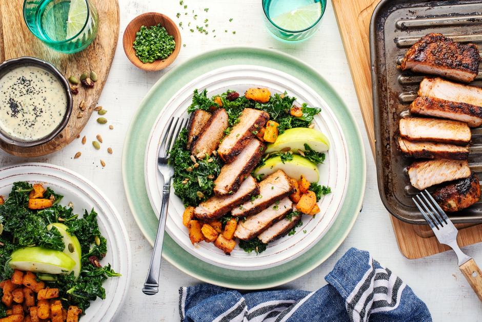 BBQ Pork Chops with Apple-Kale Slaw