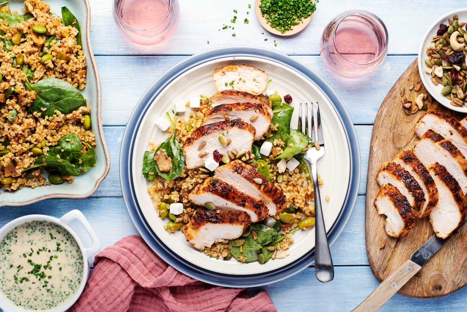 Spiced Chicken over Nutty Freekeh Salad