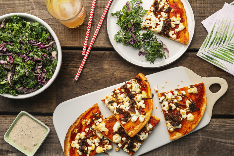 Caramelized Onion & Goat Cheese Pizzas