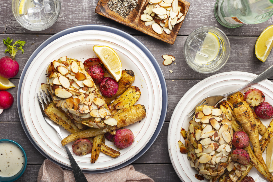 Almond-Crusted Chicken with Roasted Parsnips & Radishes